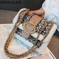 Luxury Fur Bordered Crossbody Lady Winter Plaid Tweed Chain Handbag Designer Lock Plush Shoulder Bag For Women Clutch Purse Q1208