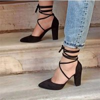 Dress Shoes Women Sandals Pointed Toe Ankle Strap Thick Heels Platform Flock Black Gladiator Sexy Party Female Sandalias Mujer Autumn Mules