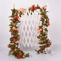 2.2m Fleur artificielle Vigne Fake Silk Rose Ivy Fleur pour la décoration de mariage Vigne artificielle suspendue Guirlande Décoration de la maison 423 V2