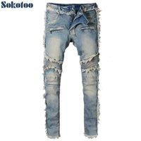 SOKOTOO erkek Vintage Yıkanmış Denim Fringe Biker Jeans Moto Moda Slim Fit Düz Patchwork Pantolon Büyük ve Uzun Boylu