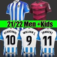 Real Sociedad de fútbol Jerseys 21/22 # 21 Silva Home Blue Soccer Jersey # 10 Oyarzabal Away Shirt 2021/2022 Hombres adulto # 11 Januzaj Uniforms Kit Kit