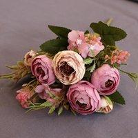 Flores decorativas grinaldas europeu vintage artificial seda chá rosa 6 cabeça 4 pequeno bouquet bouquet casamento casa retro festa falsa festa diy d