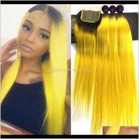 WEFTS Erweiterungen Produkte Drop Lieferung 2021 Ombre Brazilianer gerade 3 Deal Spitze Remy Human Hair Bündel mit Verschlussfarben 1b / gelb oran