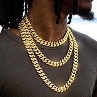Chains Big Curb Cuban Punk Necklace For Men Women Link Neck Chain Chokers Golden Bling Rhinestones Rapper Hip Hop Fashion Jewelry