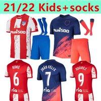 21 22 Atlético Madrid Jerseys de fútbol Suarez João Félix M. Llorente Correa Koke Camisetas de Fútbol Lemar Carrasco Kids + Socks Football Shirt