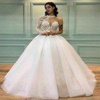 Modern A-Line Bröllopsklänningar Böhmen Långärmad Strand Brudklänning Boho Chic Halter Custom Made Appliqued Lace