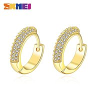 LKN020 Classic SKMEI Zirconia Hoop Ladies Earrings Fashion stud Gold Color Circle Jewelry aretes de mujer Stylish four-color zircon lined