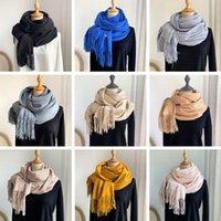 Plain tassel Designer scarf neckerchief women's winter pashmina cold-proof men's scarves Korea thickened warm imitation cashmere wool shawl wrap