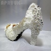 Dress Shoes 2021 Arrival Round Toes Womens Wedding Block Super High 11CM Heels Woman Lace Party White Crystal