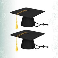Dog Apparel 2pcs Black Graduation Caps With Tassels Pet Toys Costumes Dress Accessories Ceremony Hat Po Props For