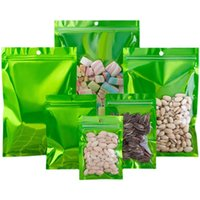 Flat Bottom Clear and Green Dry Food Candy Packaging Bags with Hanger Hole Resealable Holiday Zipper Seal Tea Coffee Aluminum Foil Pouches