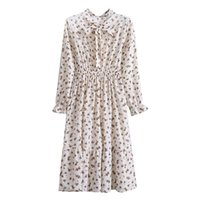 Casual Dresses Autumn Fashion Vintage Dress For Women Bohemian Floral Solid White Silk Maxi Wedding Guest High Waist Lady Robe