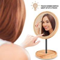 컴팩트 거울 LED 메이크업 미러 화장대 나무 바탕 화면 조정 가능한 빛 미자 터치 스크린 서 화장품