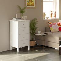 Cabinet de rangement de salle de bains de la poitrine 4 tiroirs avec cadre en bois massif Poignées de style antique Dresseurs pour la maison