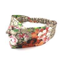 Moda letra impresa diadema grande flor patrón pelo diseñador alto estiramiento hitbands damas deportes hairbands