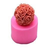 Velas hechas a mano DIY Molde de silicona 3D Rose Ball Aromatherapy Wax Gatea Molde forma Velas Fabricación de suministros GWD6417