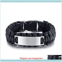 Charm Bracelets Jewelrymodyle Outdoor Sports Black Brown Rope Mens And Womens Stainless Steel Bent Card Woven Bracelet Personalized Jewelry1