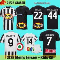 21 22 Juventus Camisas de Futebol CHIESA RONALDO 2021 2022 Torcida Versão Jogador MORATA DYBALA McKENNIE BONUCCI Camisa de Futebol KULUSEVSKI DE LIGT Camisa Homem Kit Crianças