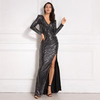 Casual Dresses Full Sleeved Sequined Wrap Dress V Neck Split Leg Pleated Stretch Long Night Party Maxi