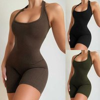 Women's 2021 New Sports Suit Women's Solid Color Sexy Backless Mini Short Candy Jumpsuit Designer Plus Size Rib Joggers 2 Piece Set S-XL