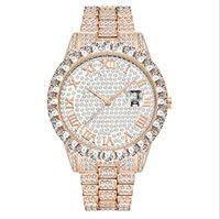 Missfox 유럽 힙합 전체 다이아몬드 망 시계 팔찌 로마 숫자 날짜 다이얼 쿼츠 손목 시계 멀티 알콜 선택