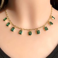 Pendant Necklaces EYIKA Charm Transparent Green Zircon Multiple Square Pendent Necklace For Women Gold Color Plated Chain Choker Fashion Jew