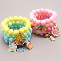 Multi Candy Perles Enfants Bijoux chanceux Bracelets Heureux Enfants Aimer Heart Charms Bracelet Bracelet Bébé Accessoires cadeau Z2721