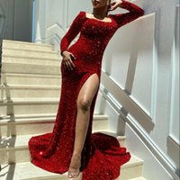 BlingBling Sequined Side Split Mermaid Dresses Evening Wear Square Neck Long Sleeves Prom Gowns Zipper Back Bride Any Occasion