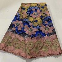 2021 новая африканская реальная хлопчатобумажная напечатанная восковая ткань нигерийская анкара DIY ткань материал ткани с шнуром кружева для шитья платье ZQL22