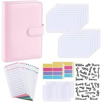 Gift Wrap Budget Binder, A6 PU Leather Notebook Planner Organizer Refillable 6 Ring Binder Cover Letter Sticker Labels