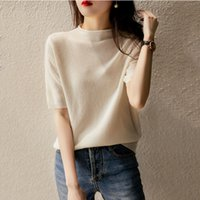 Spring 2021 and Summer Small High Collar Knitting Fashion Breathable T-shirt Ice Silk Knitwear Slim Fitting Short Sleeve Top