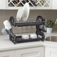 Rack de drenagem de prato de Waco, armazenamento de cozinha de plástico de 2 níveis, tratamento à prova de ferrugem, com secador de xícara, coletor de bandeja, suporte de utensílio de bancada, preto