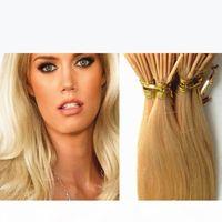 7A grade Double dessiné humain Remy Silky Silky Blonde Blonde Kératin Stick i Tip Précédent Micro Fusion EXTENSION DE CHEVEUX SANS FOURNIS DANS LE TANTIBLAGE