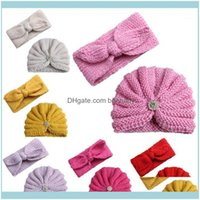 Baby, Kids Maternity Caps & Aessories Fashion Winter Girl Hats With Pearls Candy Color Knit Born Beanie Hat Headband Baby Fotografia Cap Set