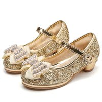 Flat Shoes Girls Party Children Leather For Medium Big Kids High Heels Crystal Bling Sequined With Bow-knot Pearls Princess