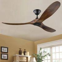 60, Pollice DC Old Industrial Wood Fan Inverter Nordic Semplice soffitto a soffitto eolico moderno Lampada da casa Retro