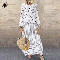 Casual Dresses Long Sleeve Dress Women Vintage Plus Size Clothing Fake Two Pieces Woman Maxi For Fall Autumn