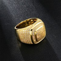 personalized Jewelry Gold White Gold Plated Mens Diamond Iced Out Man Wedding Engagement Rings Square Pinky Ring for Men Gifts 649 K2