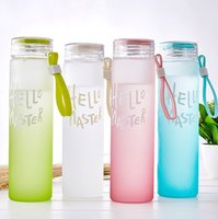 Frosted Glass Water Bottle Tumbler Tea Mugs Adult Outdoor Sport Portable Glasses Cups Kid Children School Drink Cup with lid