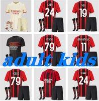 Kit pour enfants adulte 2021 2022 Milan ibrahimovic home Jerseys de football 21 22 Pateque Paquetta Theo Rebic Football Shirts Uniformes des jeunes garçons