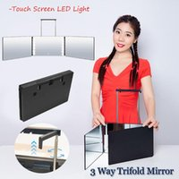 Compact Mirrors Brackets Self Hair Cutting DIY Haircut Tool Portable 3 Way Trifold Mirror 360° Barber Touch Screen LED Light