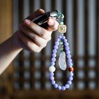 Handcrafts Lotus Mobile Phone Lanyard Short Car Keychain Chalcedony Bag Pendant Aquamarines Stone Beads Hanging Wrist Bracelet Charm Bracele