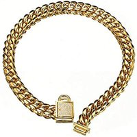 Chokers Pet Collar Stainless Steel Dog Gold Curb Cuban Chain Training Walking Necklace For Small Large Dogs
