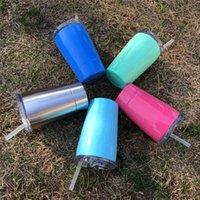 10 Colors12OZ Bambini tazza tazza con coperchi CUCCIA IN ACCIAIO INOSSTATO IN ACCIAIO IN ACCIAIO ACCIAIO PER BAMBINI Studenti tazze con paglia