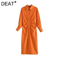 Casual Dresses DEAT 2021 Autumn Fashion Tide Single-breasted Turn-down Collar High Waist Ankle-length Folds Long Sleeve Dress Women 13Z527
