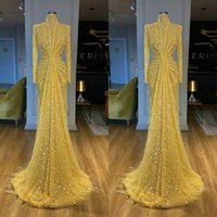 2021 Arabic Yellow Feather Mermaid Prom Dresses Luxury Beading Sequined High Neck Long Sleeve Women Plus Size Formal Evening Gowns