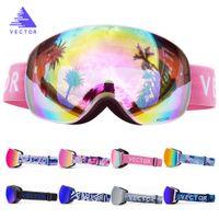 OTG Ski Snowboard Goggles Women Men Skiing Eyewear Mask UV 400 Snow Protection Glasses Adult Double Spherical Mirrored Magnetic 201022