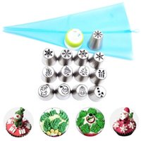15pc Set Russian Christmas Nozzles Stainless Steel Flower Cream Pastry Tips Bag Cupcake Cake Decorating Tools 210423