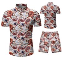 Camisa Masculina 2021 Novo Verão Grande Slim Beach Short Sworts Casual Terno