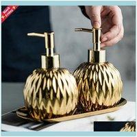 Aessory Home Garden3PCS / Set Bagno Aessies Set Set Vassoio in acciaio inox Ceramica Acciaio Sanitizer Shampoo Doccia Gel Bottiglia Bottiglia Sapone Sapone